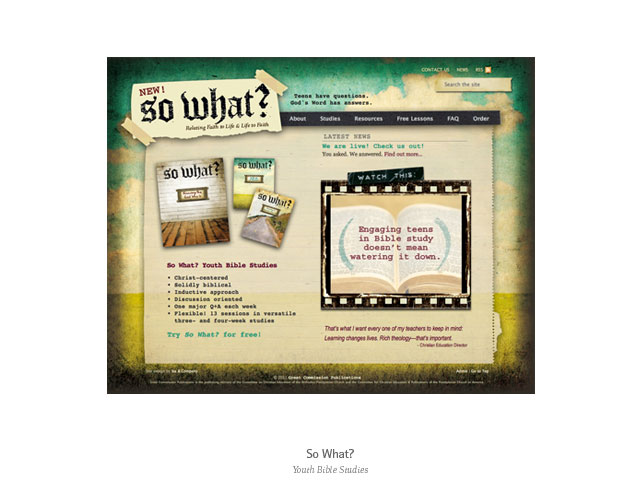 Web design: So What? Youth Bible Studies