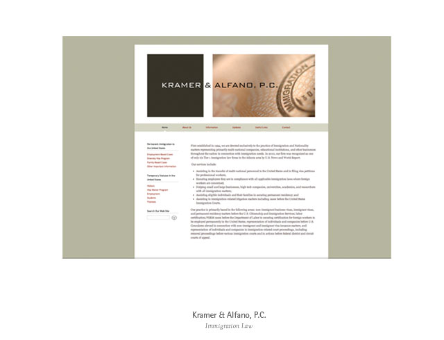 Web design: Kramer&Alfano, PC